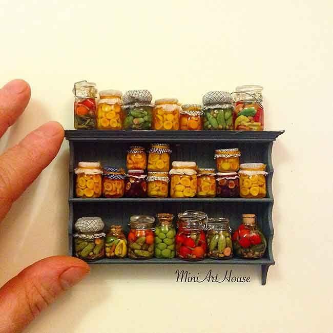 The shelf with the many jars