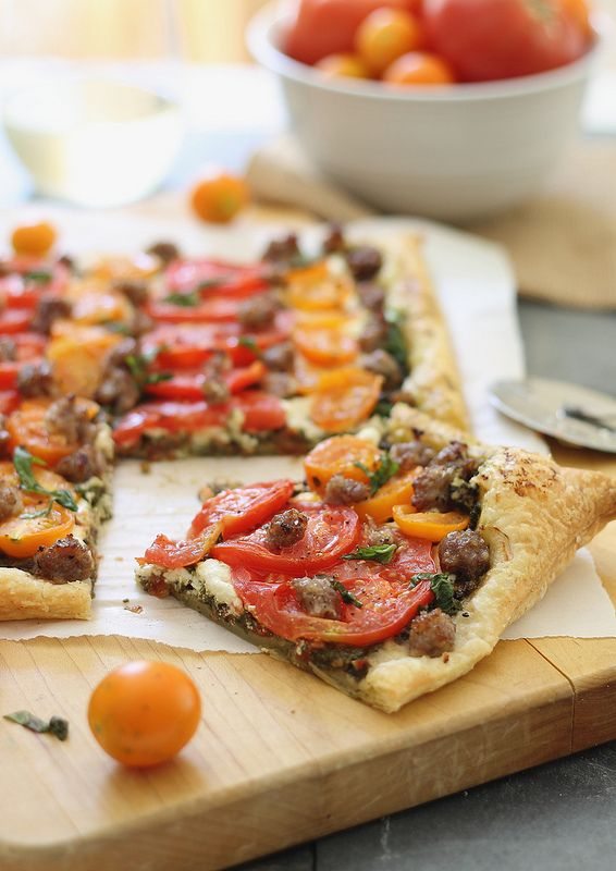 Goat Cheese, Tomato and Sausage Tart