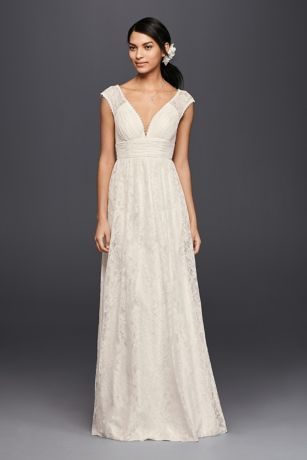 The delicate illusion lace cap sleeves perfectly balance the slightly more sultry plunging V-neckline on this sheath wedding dress. Scalloped lace trim at the arms and neckline adds another feminine layer to the ladylike look.  Galina, exclusively at David's Bridal  Polyester  Sweep train  Back zipper; fully lined  Dry clean  Imported  Also available in Extra Length