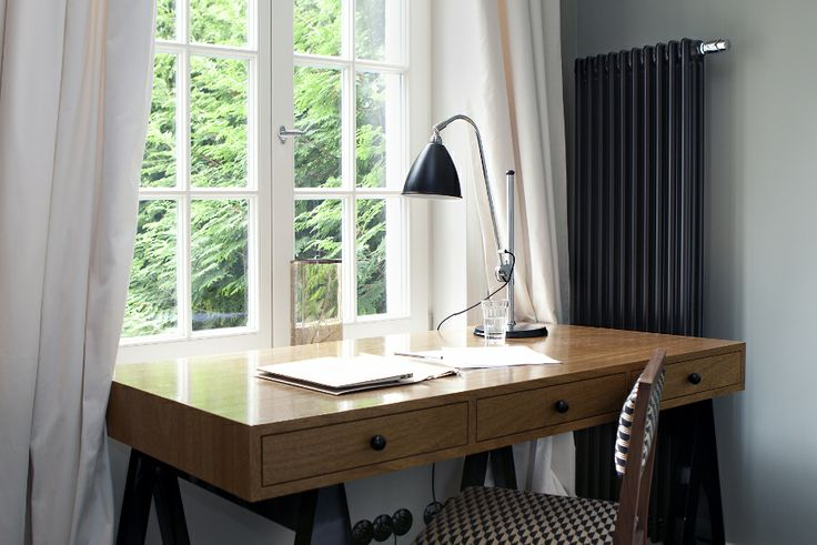 desk on trestles, exotic veneer