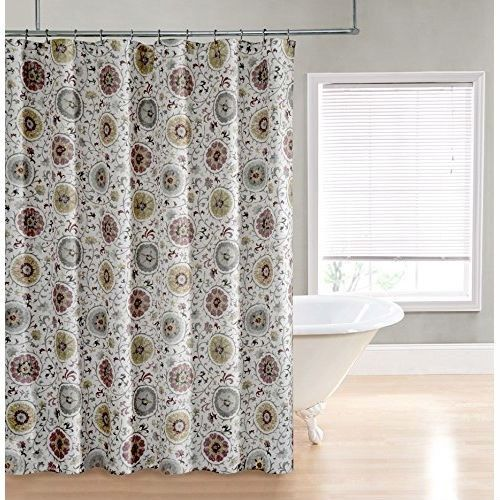 Suzani Circles Modern Classic Style Polyester Fabric Shower Curtain