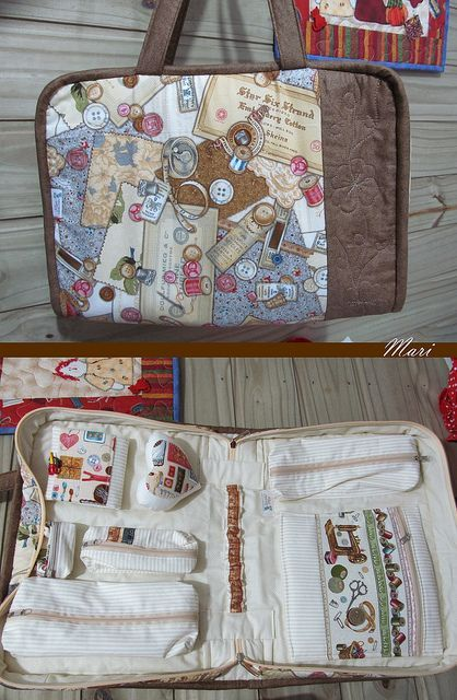 sewing case with lots of pockets: