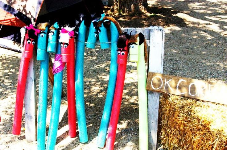 Pool noodle horses...thinking this would be fun for a birthday party!