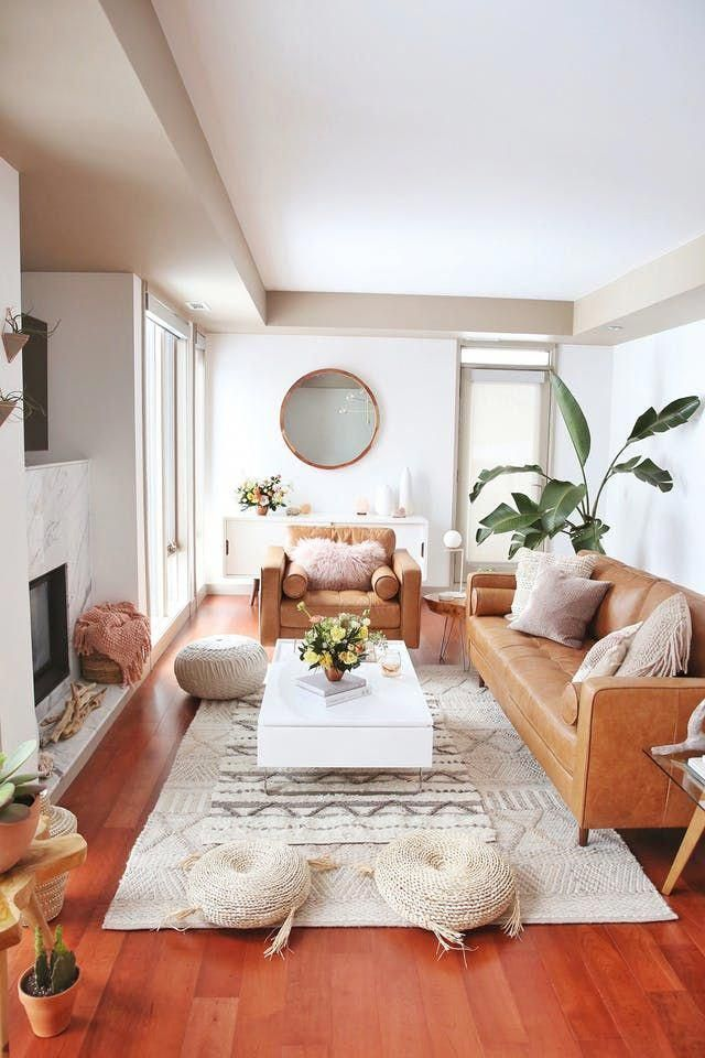 A comfortable Canadian Condo Boho Organic Living Room
