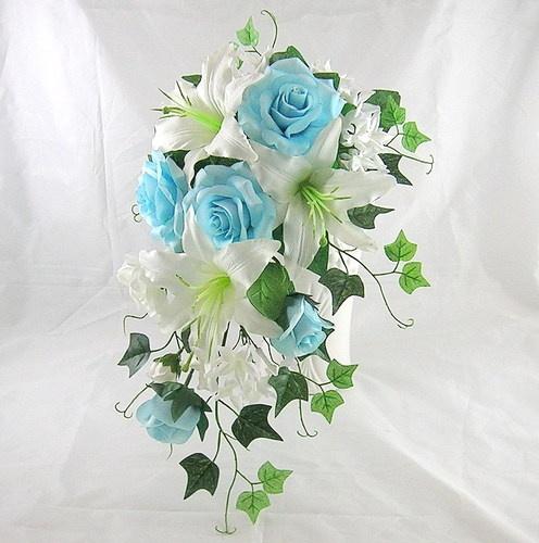 Wedding Silk Flower Sky Blue Rose Lily Bride Hanging Bouquet | eBay