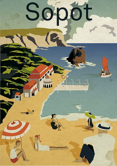 travel poster sopot city poster plakat  - for more inspiration visit http://pinterest.com/franpestel/boards/