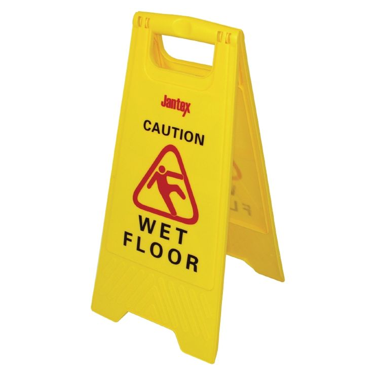 """<p class=""""description""""><strong>Jantex Wet Floor Safety Sign -</strong>In an industry where health and safety is paramount, this freestanding wet floor sign is perfect for notifying customers when cleaning is in progress.</p>"""