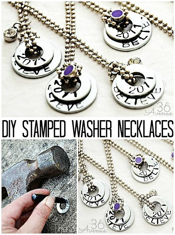 DIY Stamped Washer Necklaces. Tutorial at the36thavenue.com #crafts #diy #gifts
