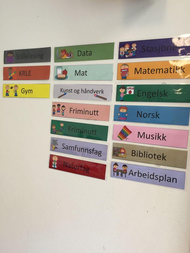 Dagsplan klar til bruk. 2A Sætre skole i Hurum.