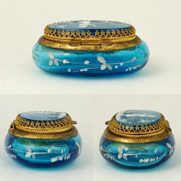 Antique Victorian Enamel Electric Blue Glass Hinged Patch Box, Mary Gregory Style