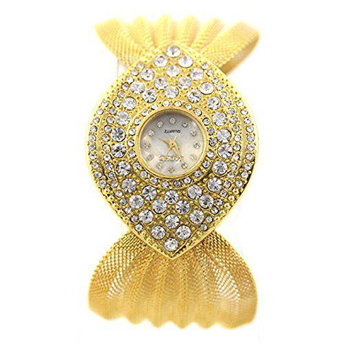 MP Women's Vintage Rhinestone Watch 050231 Color Golden XDP 0617