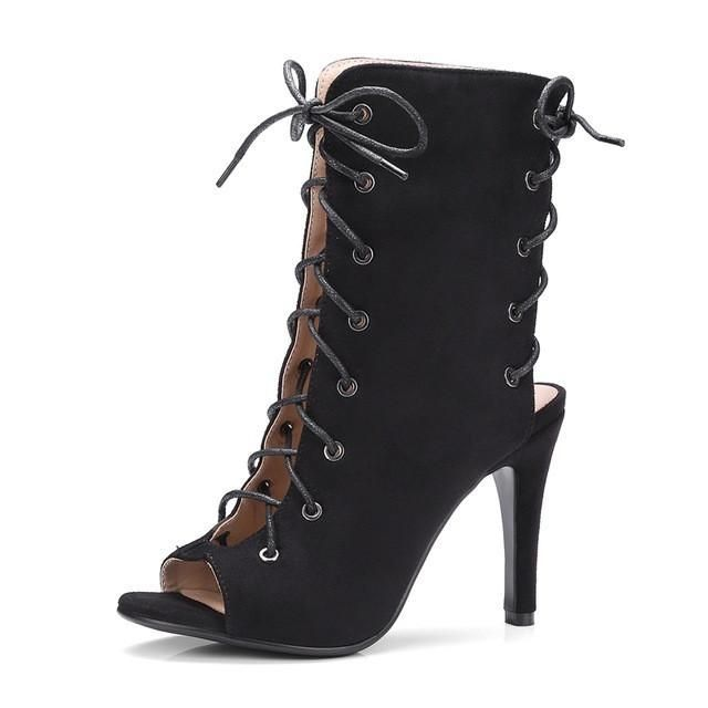Gladiator boots lace up peep toe