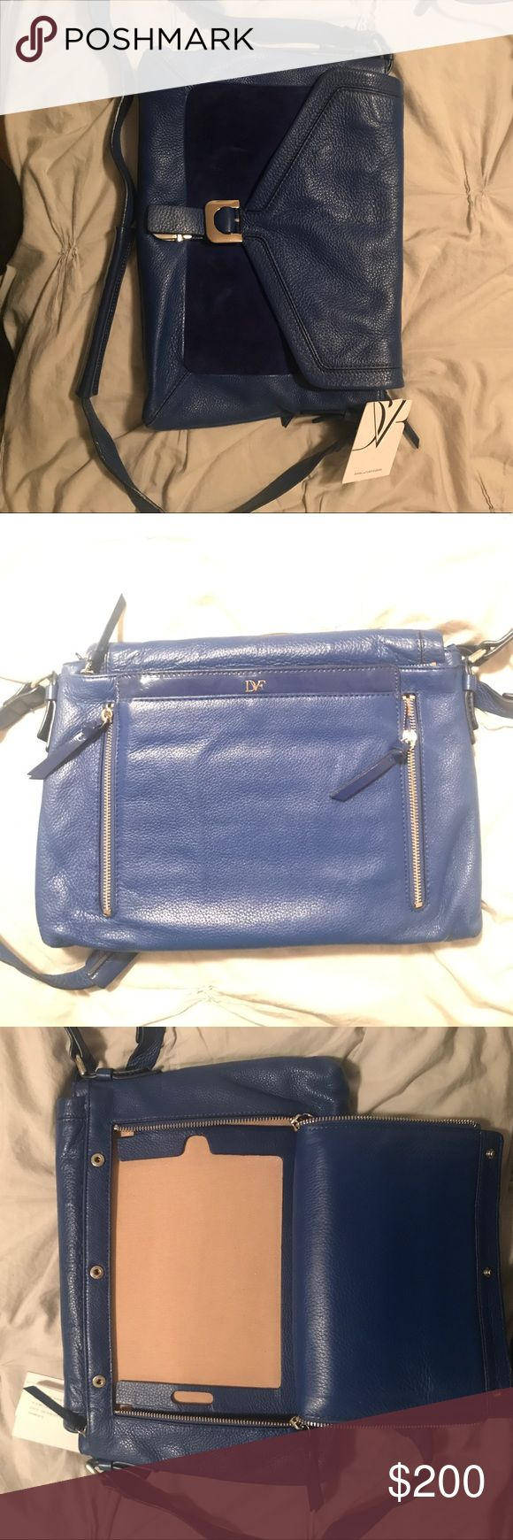 Dvf leather and suede blue bag Super cute medium sized bag with a compartment for your iPad in the back. Very spacious. Diane Von Furstenberg Bags Shoulder Bags