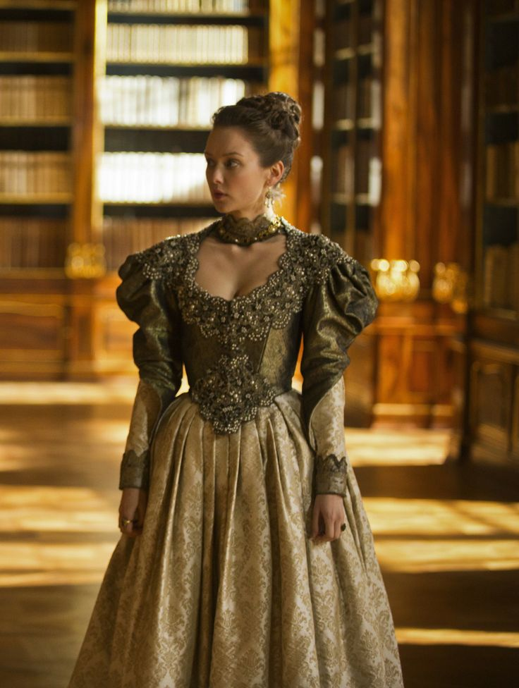 Phoebe De Gaye - The Musketeers - 2014: This is one of the dresses that the queen wears, I like this dress because of the detail in the embroidery that has been added to the material.
