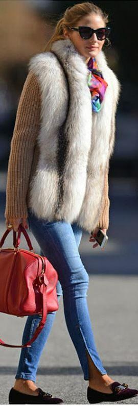 Olivia Palermo: Sunglasses – Christian Dior  Purse – Louis Vuitton  Shoes – Salvatore Ferragamo  Scarf – Amy Sia Designs