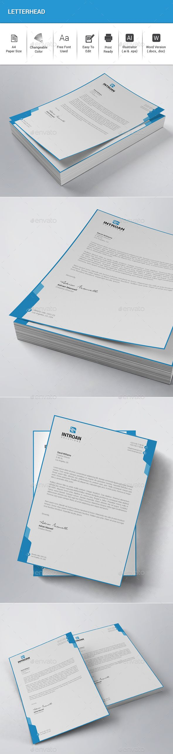 #Letterhead - Stationery Print #Templates Download here: https://graphicriver.net/item/letterhead/20171734?ref=alena994