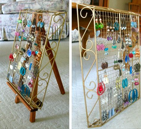 I LOVE this, Love it Love it LOOOVE it!. I love that you can see all of the earings! I love that you can choose the size of your basket based on the size of your collection, I love that you can buy any wire basket= CHEAP! The art easel is such a cool way to stand it up on a dresser (that's where I store jewelry right now). In school next year, i'd probably want to hang it up with hooks (the kind you can remove from walls w/out damage). Statement piece AND functional= perfect for dorms!