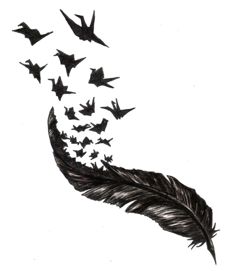 Feather With Birds Flying Out Tattoo Paper Cranes Of