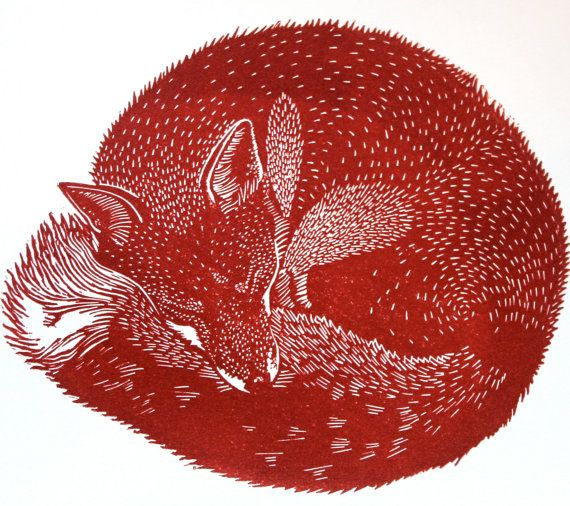 Sleeping Fox. Hand pulled limited edition linocut print of by BabsPeaseDesign, $65.00