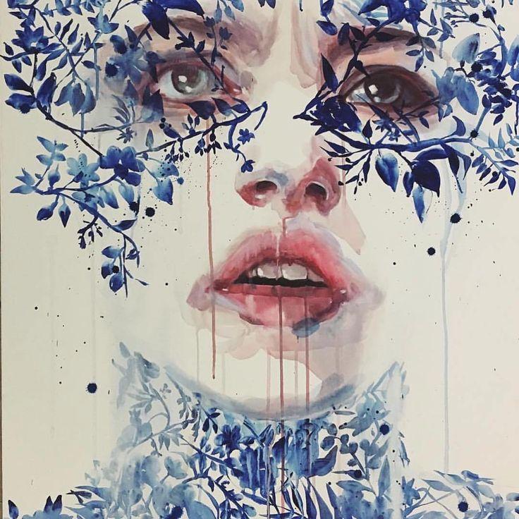 Retratos y flores - Pinturas de Agnes Cecile 1