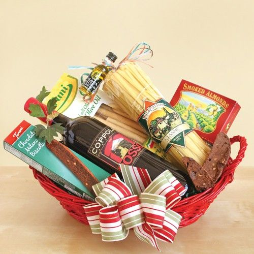22 best wine gift baskets images on pinterest wine baskets our california gift basket with an italian flair features coppola rosso wine and the makings of an italian feast negle Choice Image