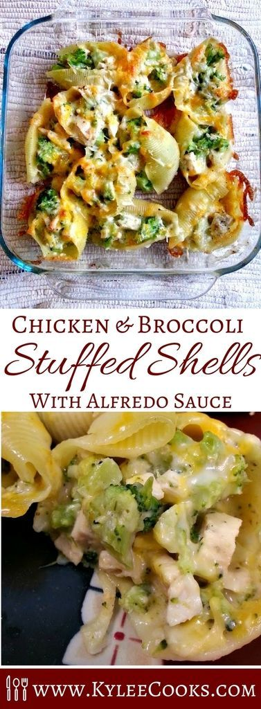 Chicken & Broccoli Stuffed Shells A great make-ahead dinner, (or make it on the fly) these delicious Chicken and Broccoli Stuffed Shells are easy to prepare, and are loved by everyone. Even picky children.