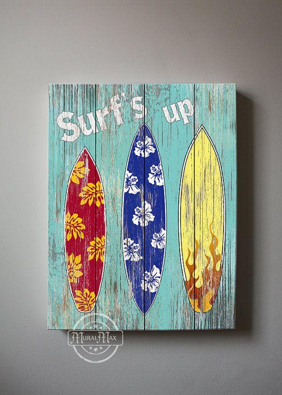 Surf Kids Room Decor - Beach Wall Art, Vintage Kids Beach Decor, 10x12 Canvas Art , Boys Room Surf Decor , Beach Kids art via Etsy
