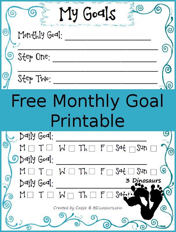January 2015 goals - FREE Goals printable - 3Dinosaurs.com