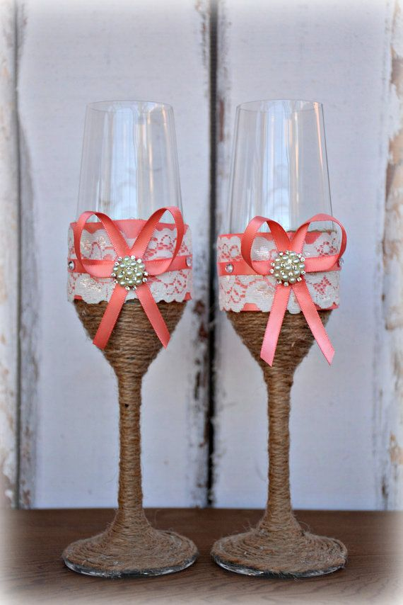 Coral Wedding Champagne Glasses Bride Groom by ContessaGarters