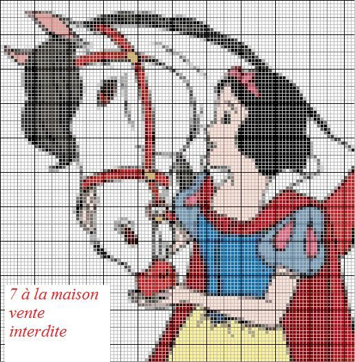 Cross Stitch *<3* Point de croix grille gratuite de Blanche neige - Le blog de 7 à la maison, point de croix, tricot, grilles gratuites...