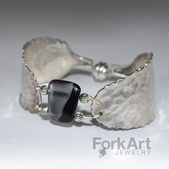 Spoon bracelet with a gray and black glass bead by ForkArtJewelry, $105.00