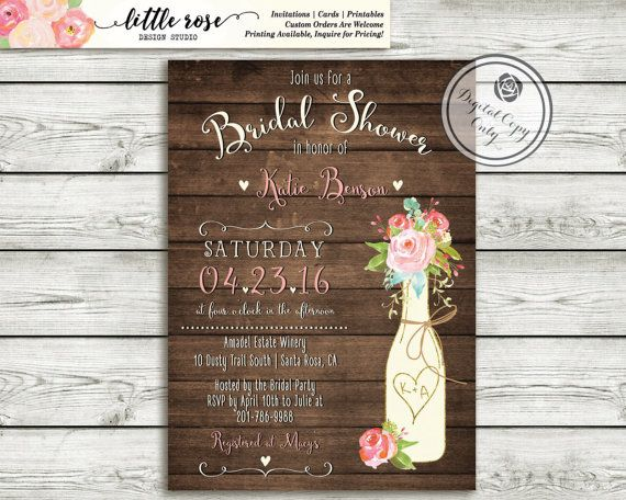 Rustic Bridal Shower Invitation - Couples Wedding Shower - Vineyard/Winery Shower -Wood Invite Roses - Printable - LR1055