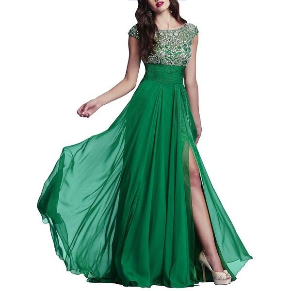 Mac Duggal Beaded Bodice A-Line Gown (1 825 PLN) ❤ liked on Polyvore featuring dresses, gowns, gown, emerald, green chiffon dress, beaded evening gowns, green ball gown, chiffon evening dresses and pleated chiffon dress