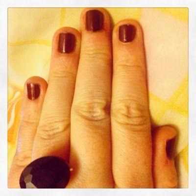 Short Fingernails with Dark Red Nail Polish