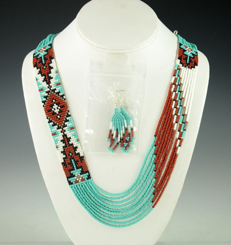 """-- INQUIRE -- ITEM NUMBER: NEC8924 ARTIST: Rena Charles TRIBE: Navajo DIMENSIONS: Measures 29"""" Long By 1"""" Wide MORE DETAILS: Eye-Catching Handmade Beaded N"""