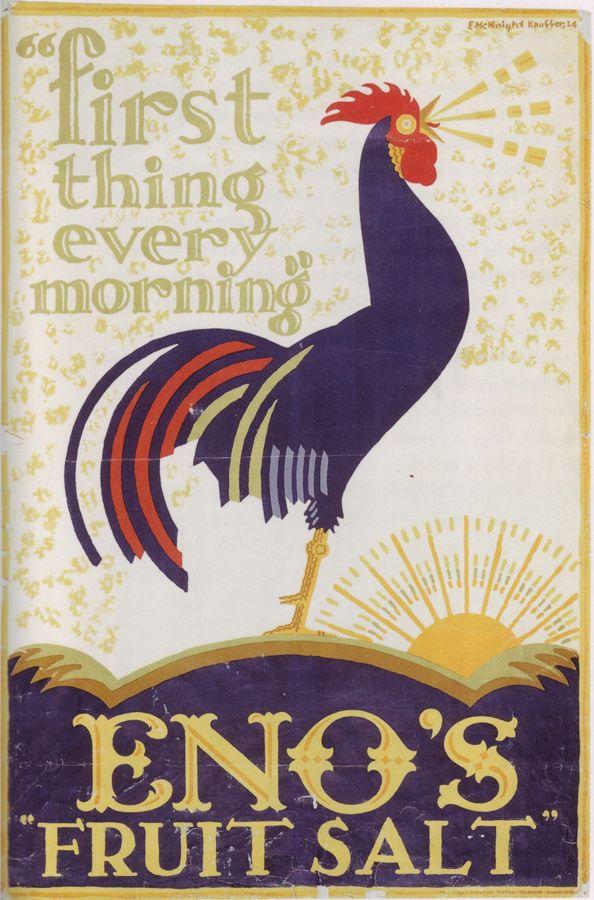 illustration publicitaire US : E. McKnight Kauffer, 1924, coq, volaille, oiseau