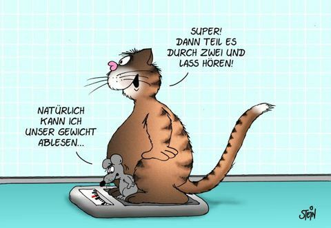 "Uli Stein Cartoon/""Sure I can read our weight."" ""Great! Divide by 2 and let's hear it!"" -- Super :-) :-)"
