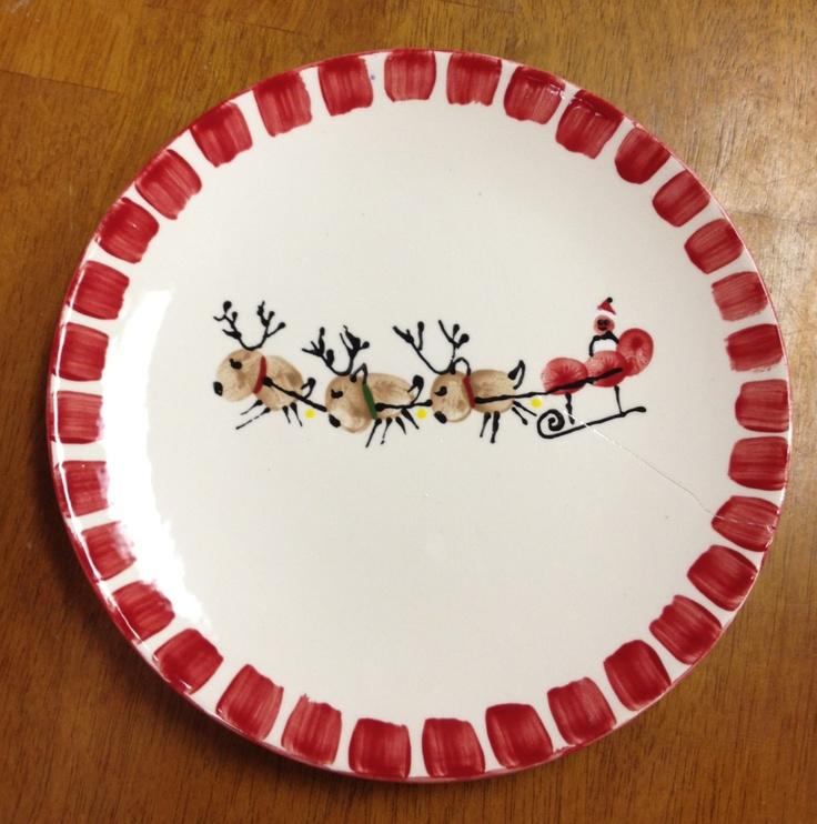 25 unique reindeer footprint ideas on pinterest for Handprint ceramic plate ideas