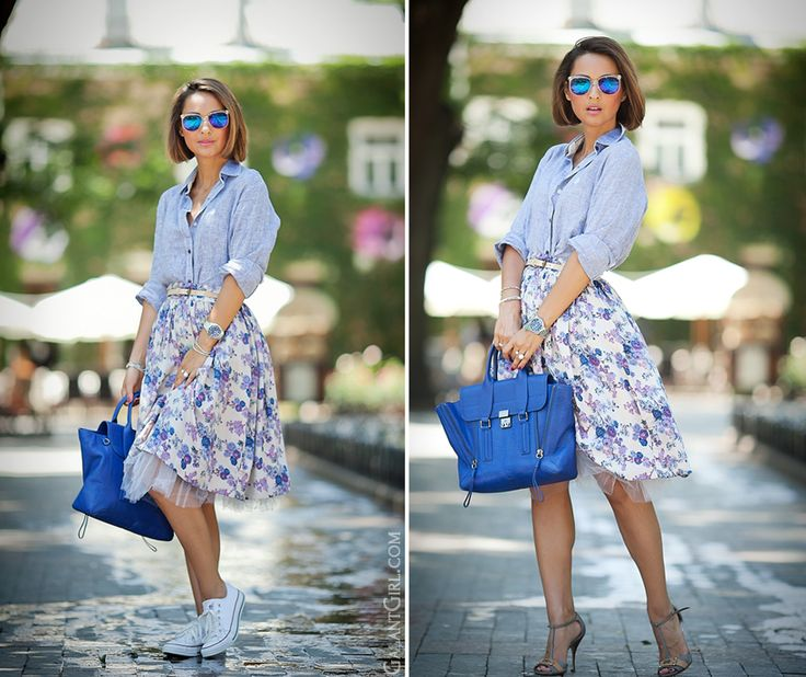 floral midi skirt and 3.1 Phillip Lim by GalantGirl.com