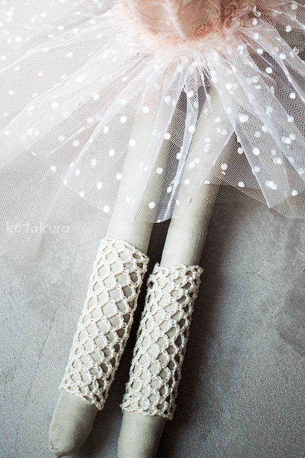 Handmade Bunny Ballerina - details - handmade crochet legwarmers