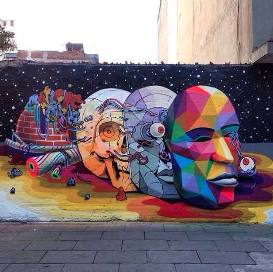 Smithe y Okuda pintan mural en la Ciudad de México