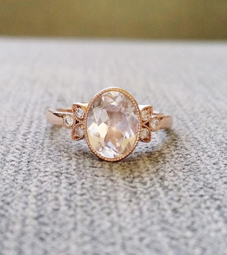 "Antique Diamond White Sapphire Engagement Ring Rose Gold Victorian Bezel Set Low Profile Filigree Gemstone PenelliBelle ""The Luella"" by PenelliBelle on Etsy https://www.etsy.com/listing/275340308/antique-diamond-white-sapphire"