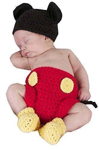 Oferta: 9.99€. Comprar Ofertas de DAYAN Niñas Niños mikey Con zapatos Sombrero pañal Crochet Fotografía Proposición de 0-6 meses color negro & rojo barato. ¡Mira las ofertas!