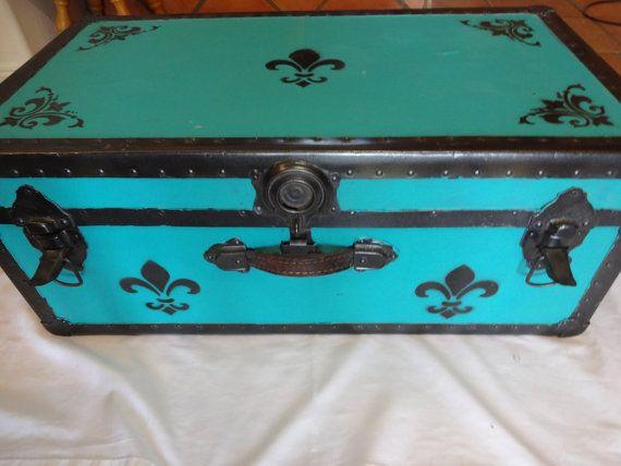 Footlocker Vintage Repurposed Storage Camp Dorm Trunk Fleur De Lis  Turquoise Black Travel
