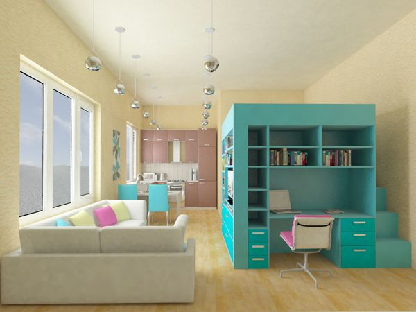 Living in a shoebox     Bed office space book case and wardrobe combined in one piece of furniture