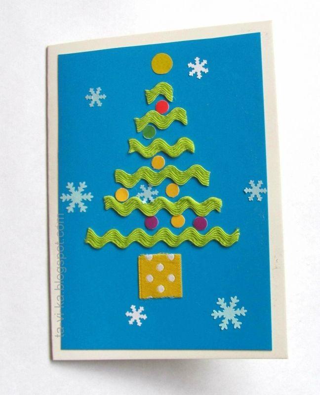 Новогодние открытки своими руками. Часть 1. Елочки