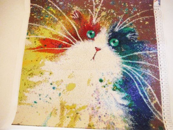 Colorful Diamond Painting Cat Toy Whiskers by knitsandmanybits #cattoy #catlover