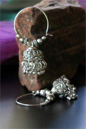 Sindh Tribal Jewelry Hoop Jhumki Earrings