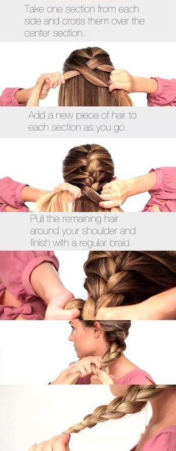 The Classic French Braid--Easier way to help you French braid your own hair!  Take one section from each side  cross them over the center section. Add a new piece of hair to each section as you go.
