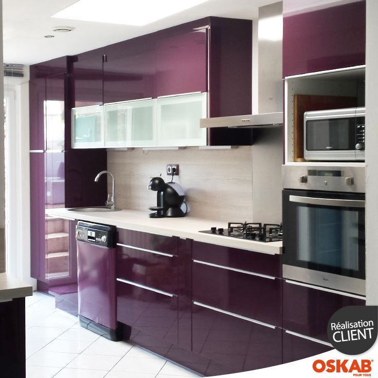 Cuisine couleur aubergine ultra moderne et color e for Meuble kitchenette